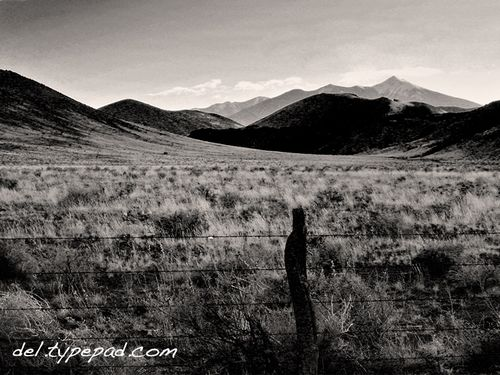 San Francisco Peaks with Cones-bw